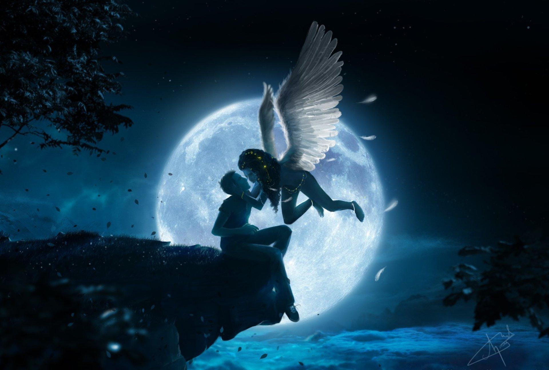 Fantasy - Angel  Fantasy Kiss Man Night Moon Wallpaper