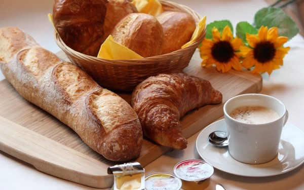 Food Breakfast Coffee Bread Croissant Cup Sunflower HD Wallpaper | Background Image