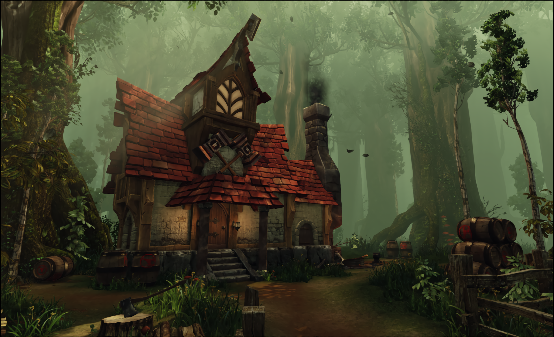 Dwarf House In The Forest Hd Wallpaper Background Image