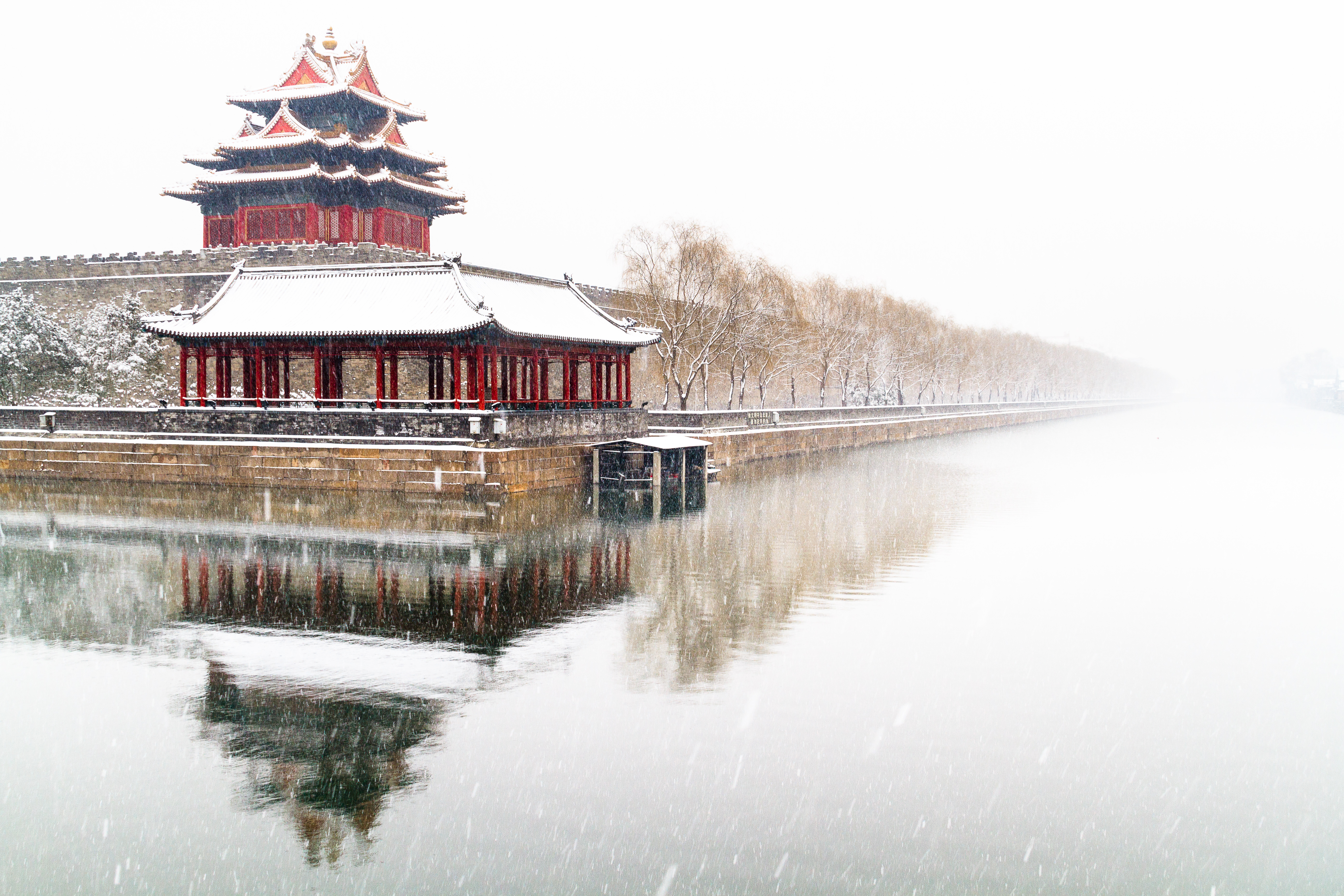 The Forbidden Palace In Beijing Under Lost Snow 5k Retina Ultra HD Wallpaper