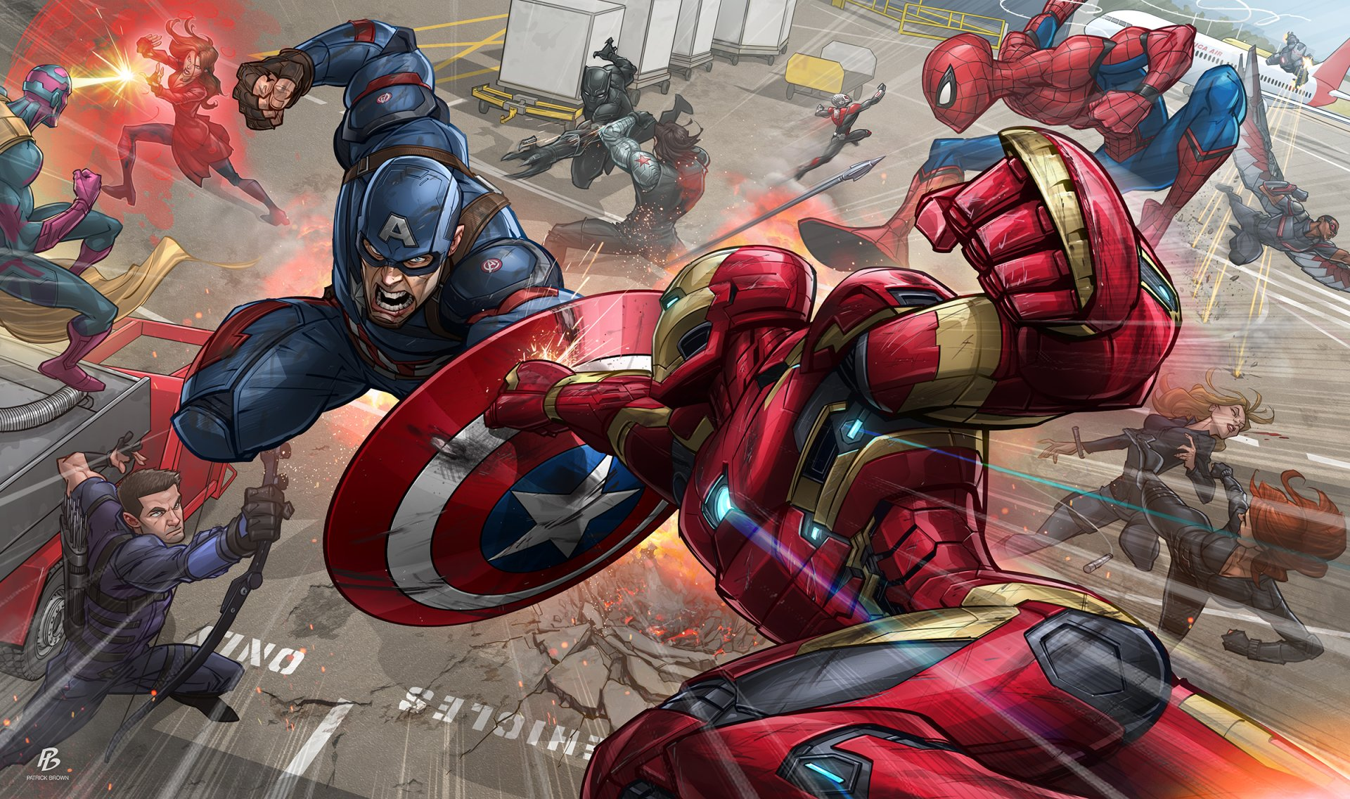 Comics - Captain America: Civil war  Superhero Marvel Comics Spider-Man Captain America Iron Man Hawkeye Ant-Man Scarlet Witch Winter Soldier Black Panther (Marvel Comics) Vision (Marvel Comics) Falcon (Marvel Comics) Agent 13 Wallpaper