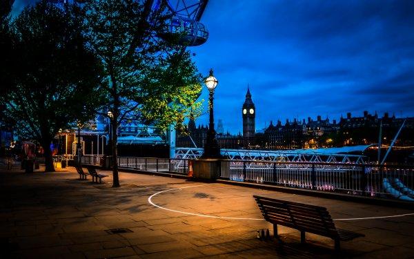 Hecho por el hombre London Ciudades Reino Unido Árbol Banco Street Light Big Ben Ciudad Fondo de pantalla HD | Fondo de Escritorio