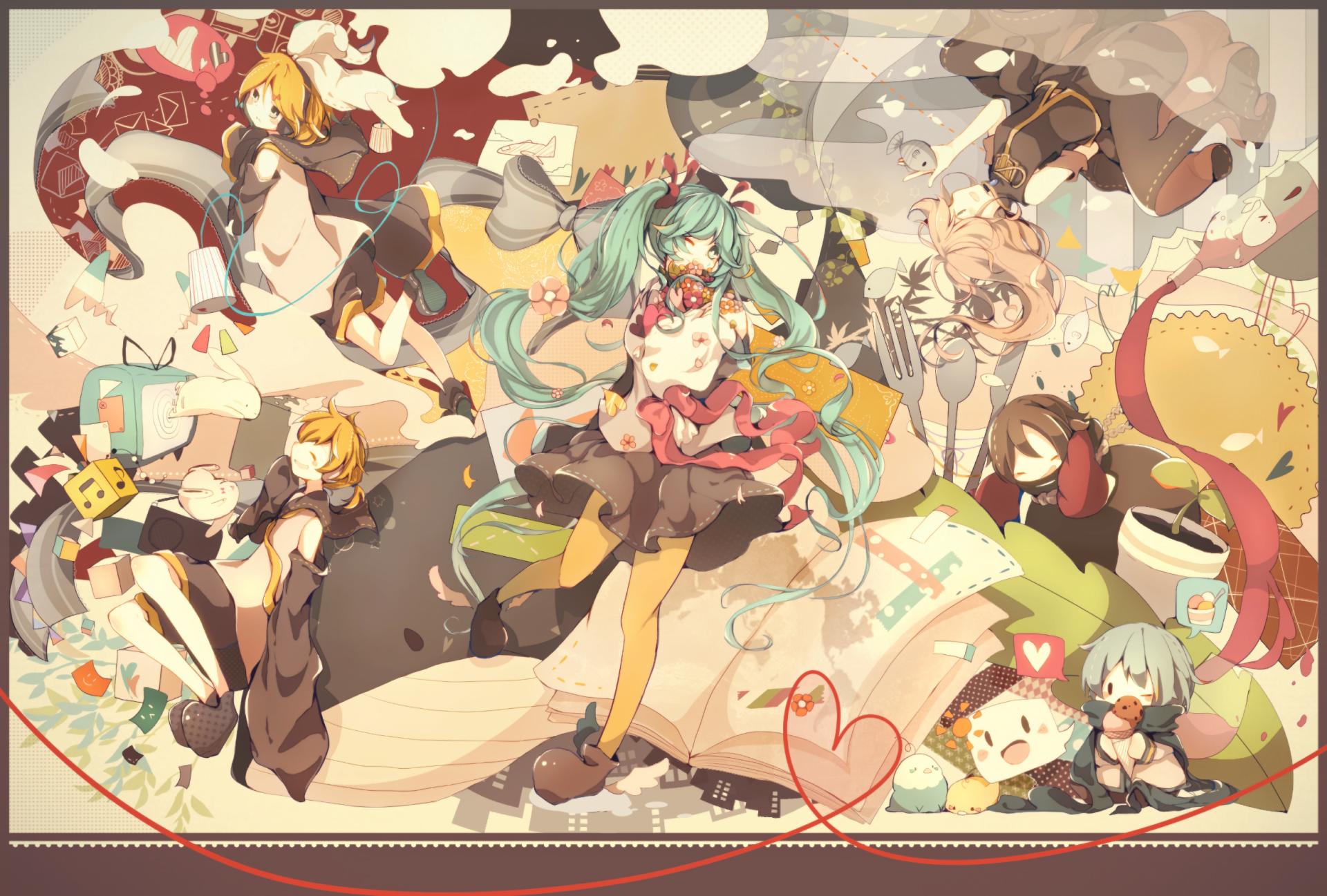 Anime - Vocaloid  Kaito (Vocaloid) Len Kagamine Rin Kagamine Meiko (Vocaloid) Luka Megurine Hatsune Miku Wallpaper