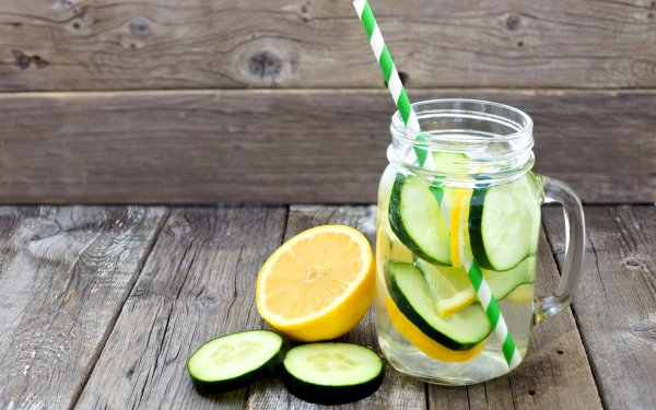 Food Cocktail Water Lemon Cucumber Mason Jar HD Wallpaper | Background Image