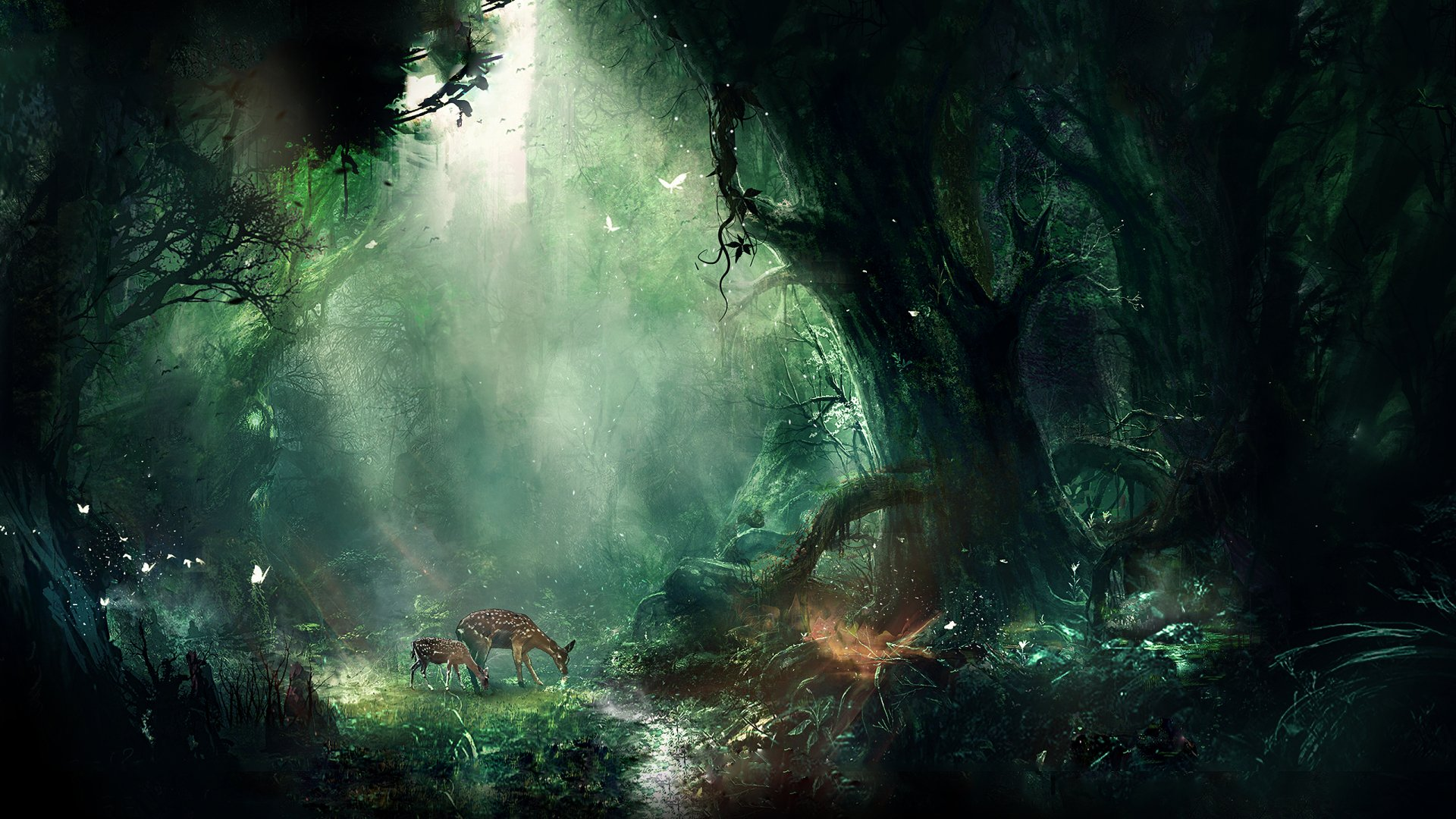 Fantasy - Forest  Fawn Deer Wallpaper