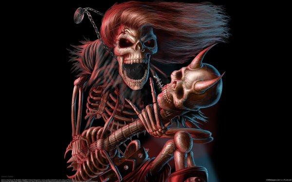 Music George Thorogood Heavy Metal Dark Skeleton Skull Guitar HD Wallpaper | Background Image
