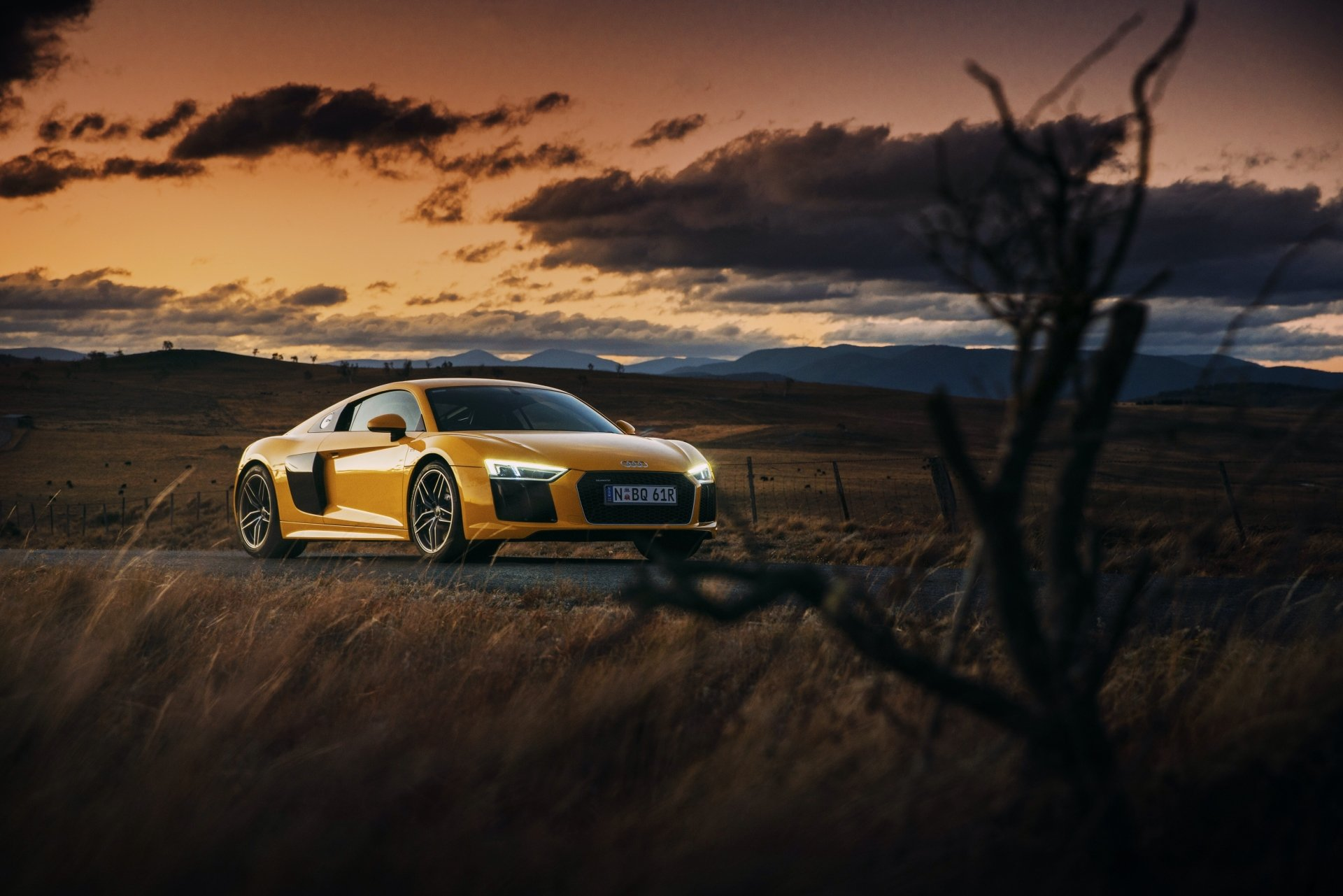Vehicles - Audi R8  Audi Supercar Yellow Car Sport Car Car Vehicle Wallpaper