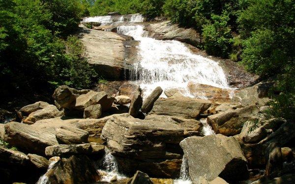 Earth Waterfall Waterfalls Photography Rock Stream HD Wallpaper | Background Image