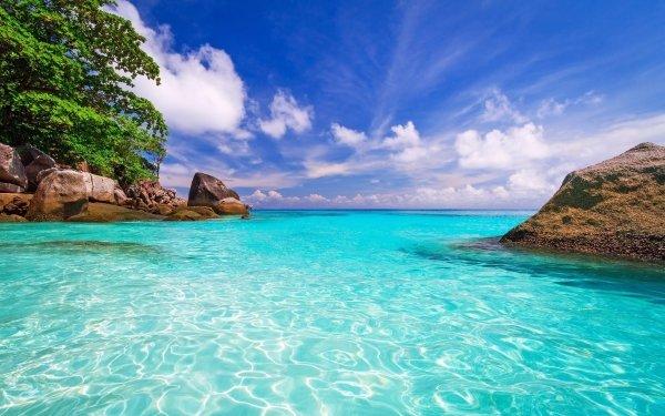 Tierra/Naturaleza Océano Sea Tropico Turquesa Rock Seychelles Fondo de pantalla HD | Fondo de Escritorio