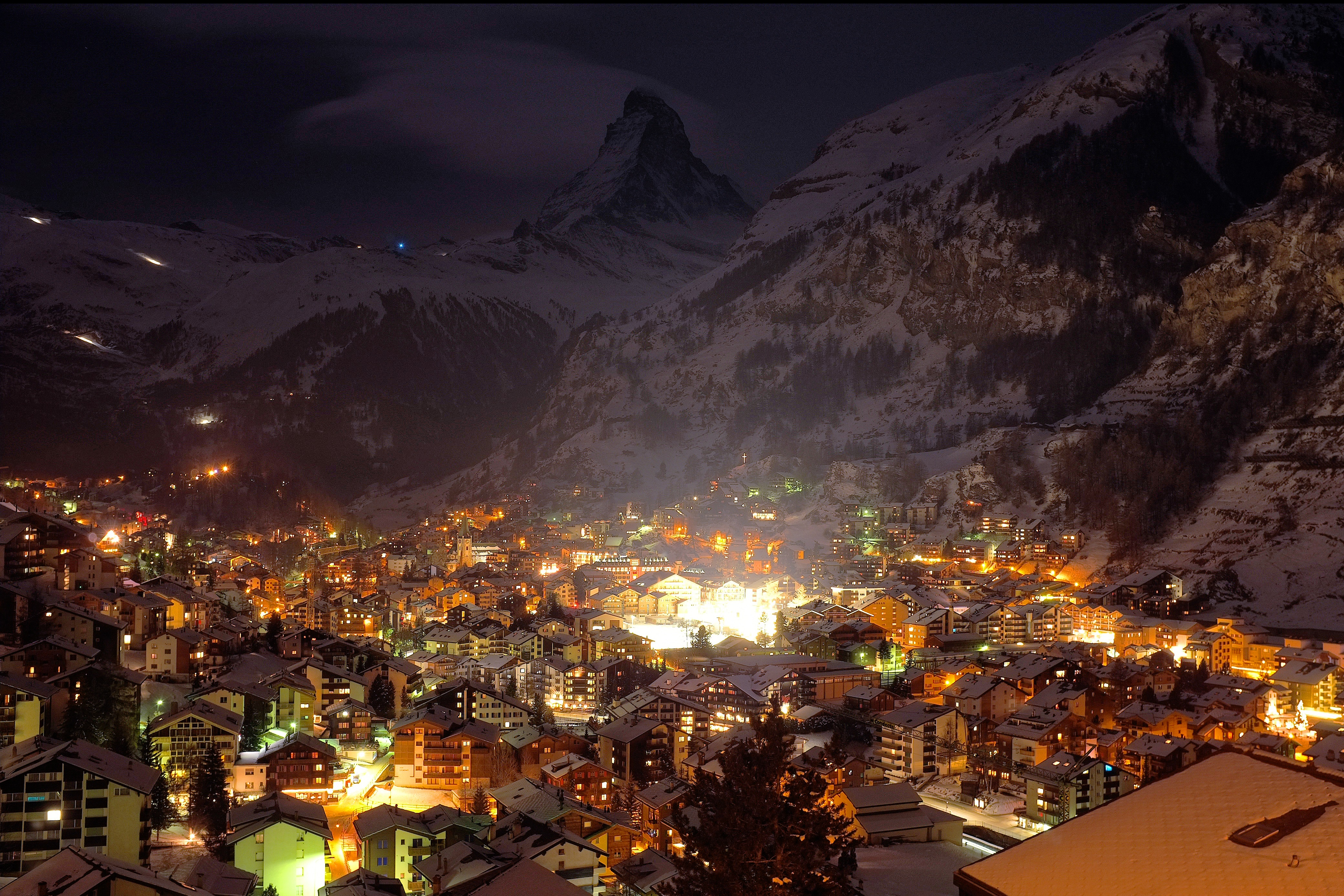 Winter Night At Winter Village In The Swiss Alps 4k Ultra Hd