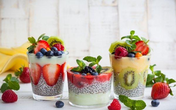 Food Dessert Fruit Berry Raspberry Blueberry Strawberry Kiwi HD Wallpaper   Background Image