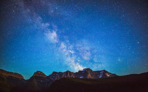 Tierra/Naturaleza Glacier National Park Parque nacional Naturaleza Montana Montaña Noche Vía Láctea Cielo Estrellas Starry Sky Fondo de pantalla HD | Fondo de Escritorio