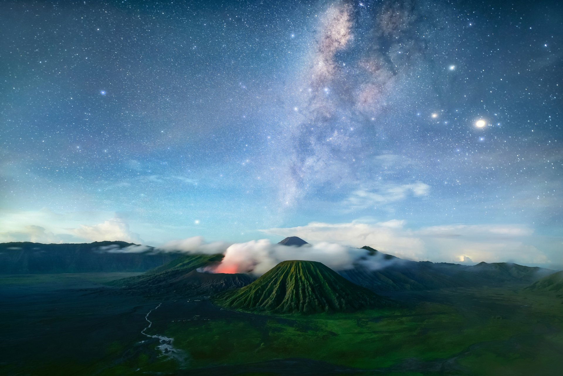 Earth - Mountain  Milky Way Starry Sky Sky Landscape Nature Volcano Wallpaper