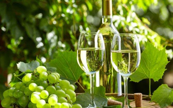 Food Still Life Wine Glass Grapes Bottle HD Wallpaper | Background Image