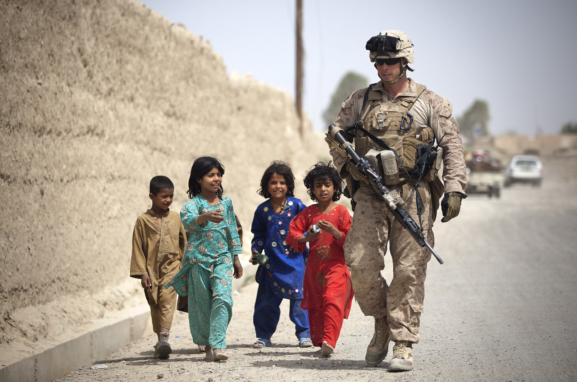 Military - Soldier  Girl Boy Afghan Military Child USMC Wallpaper