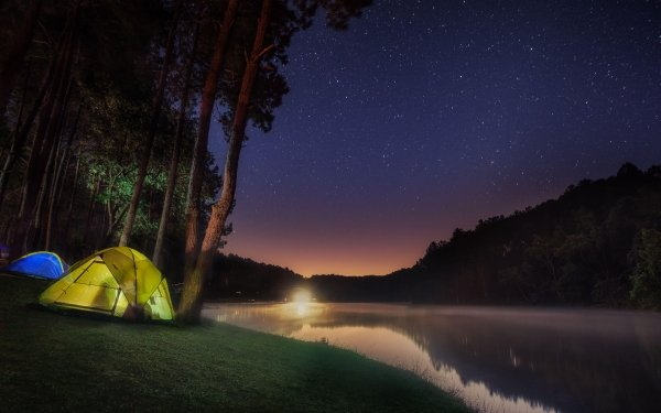 Photography Camping Camp Starry Sky Forest Light Lake Tent HD Wallpaper | Background Image