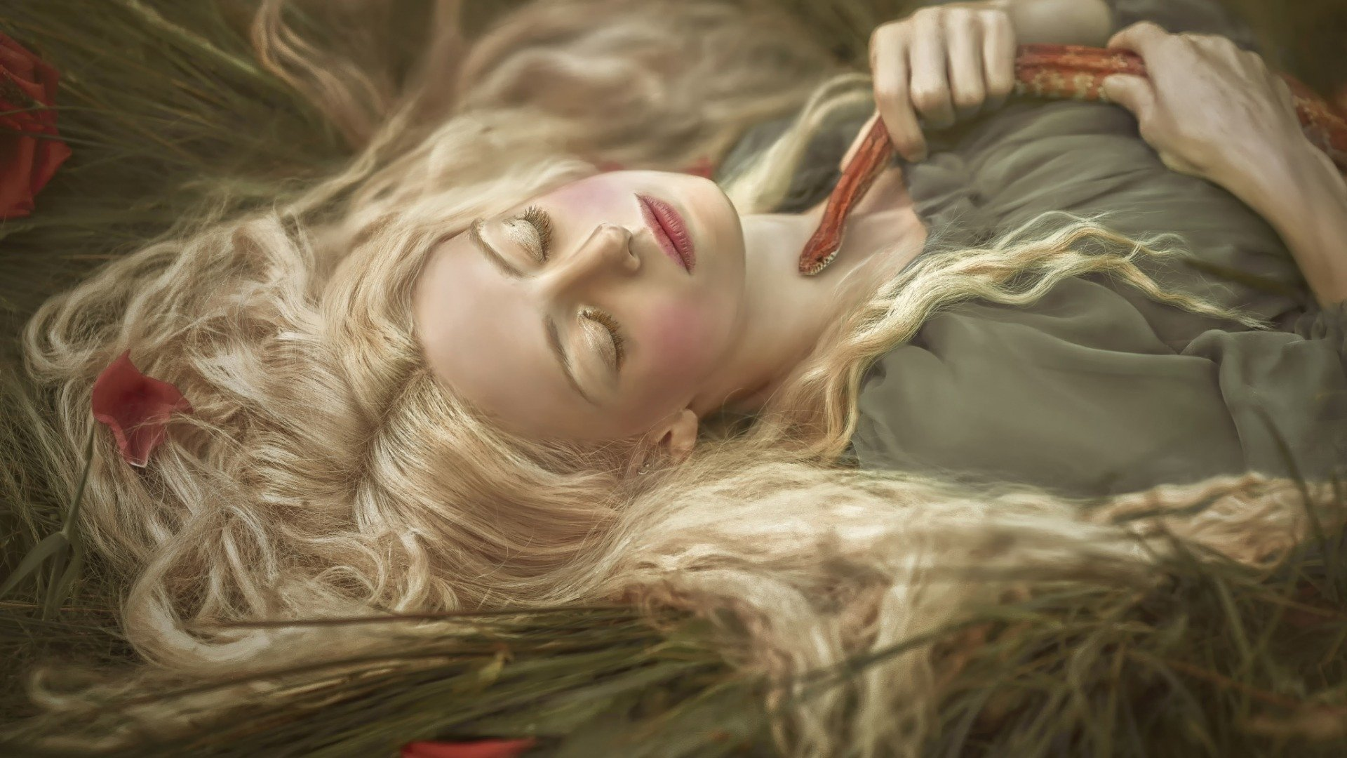 Mid summers dream full hd wallpaper and background image women mood woman sleeping snake girl blonde wallpaper voltagebd