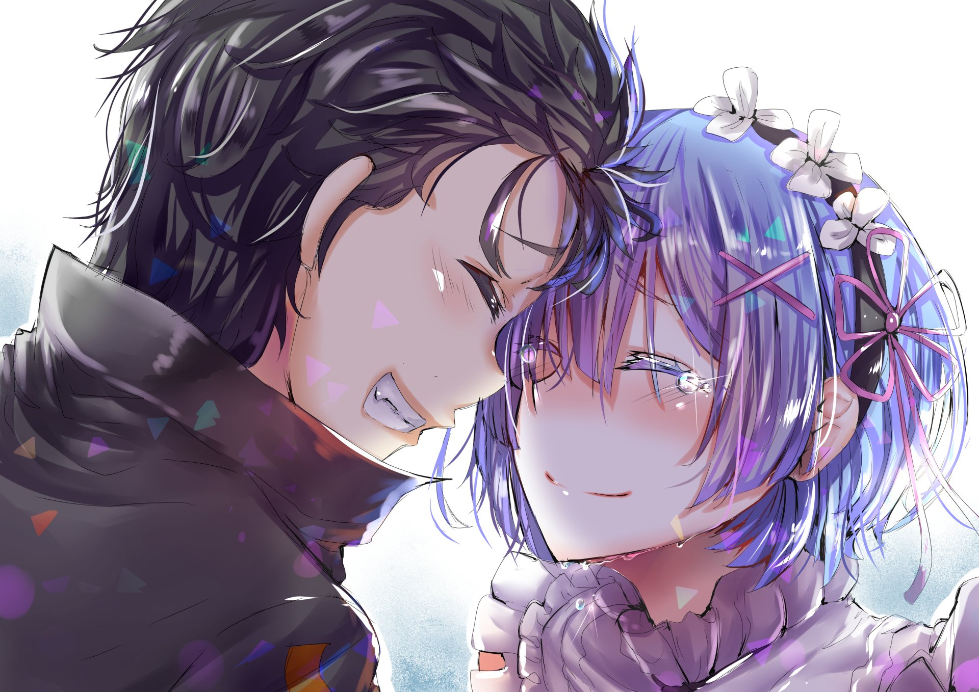 Anime - Re:ZERO -Starting Life in Another World-  Rem (Re:ZERO) Subaru Natsuki Re:Zero Wallpaper