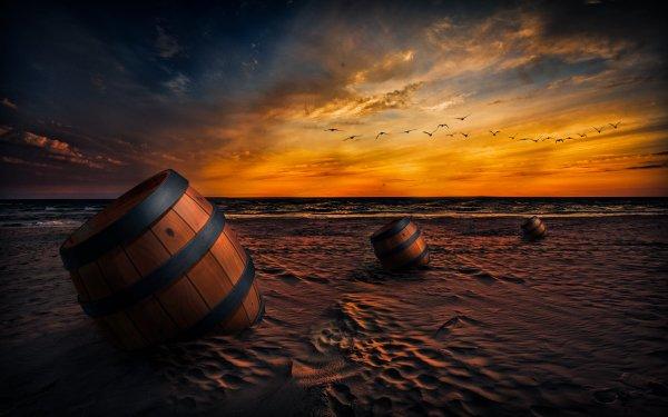 Artistic Beach Sunset Sand Barrel Sky Bird Horizon Manipulation HD Wallpaper | Background Image