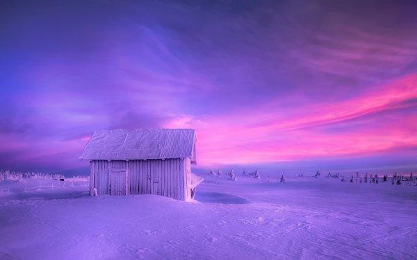 Photography Winter Earth Barn Snow Sunset Purple HD Wallpaper | Background Image