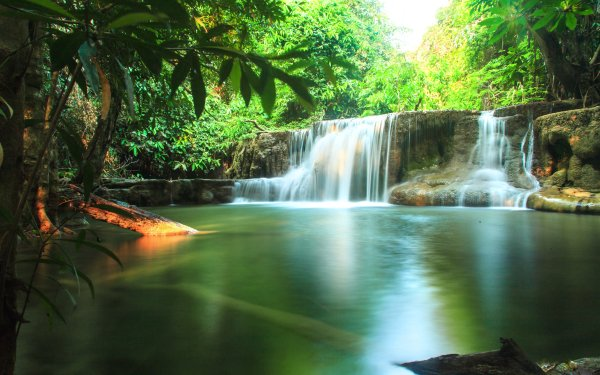 Earth Waterfall Waterfalls Thailand Tropical Creek Sunny Nature HD Wallpaper | Background Image