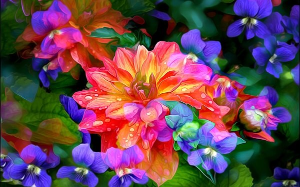 Artistic Painting Flower Dahlia Colors Colorful HD Wallpaper | Background Image