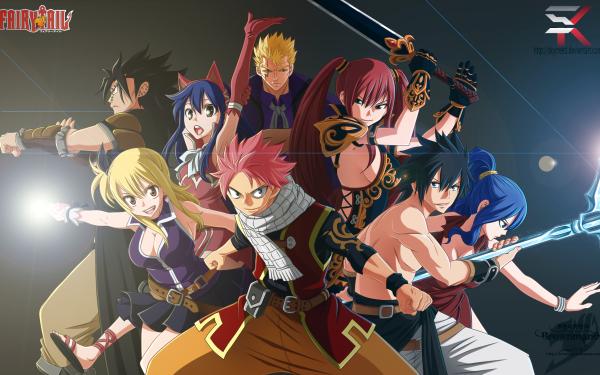 Anime Fairy Tail Natsu Dragneel Lucy Heartfilia Wendy Marvell Erza Scarlet Juvia Lockser Laxus Dreyar Gray Fullbuster Gajeel Redfox Fond d'écran HD | Image