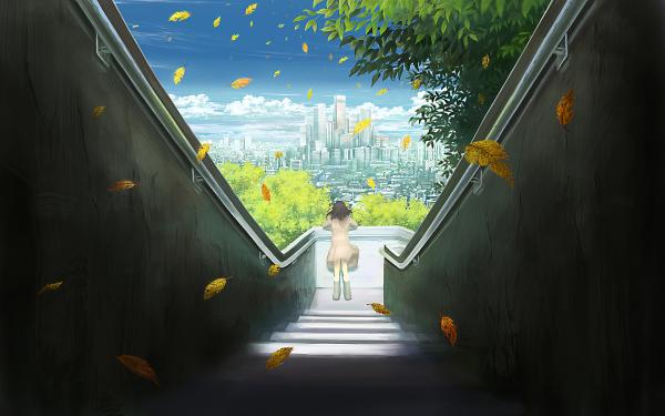Anime City Girl HD Wallpaper | Background Image