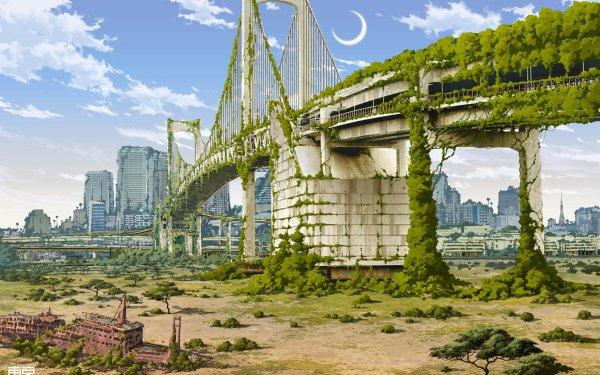 Anime City Shangri-La HD Wallpaper | Background Image
