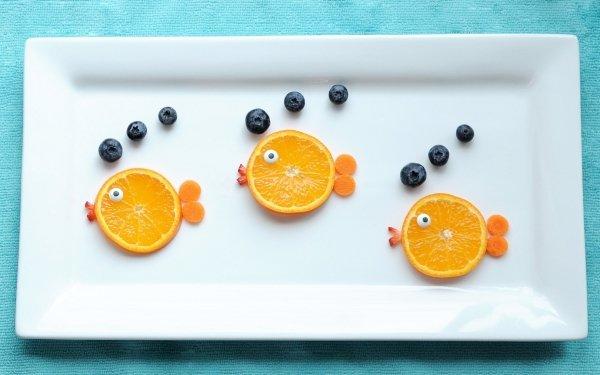 Alimento Bodegón Fruta Pez Arándano Plate orange Fondo de pantalla HD | Fondo de Escritorio