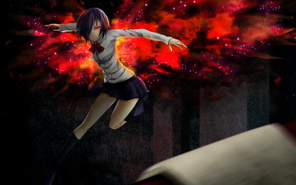 Anime Tokyo Ghoul Touka Kirishima Purple Hair Red Eyes Skirt Socks bow Kagune Short Hair Girl HD Wallpaper | Background Image