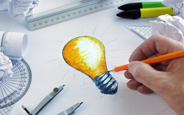Artistic Idea Pencil Light Bulb HD Wallpaper | Background Image