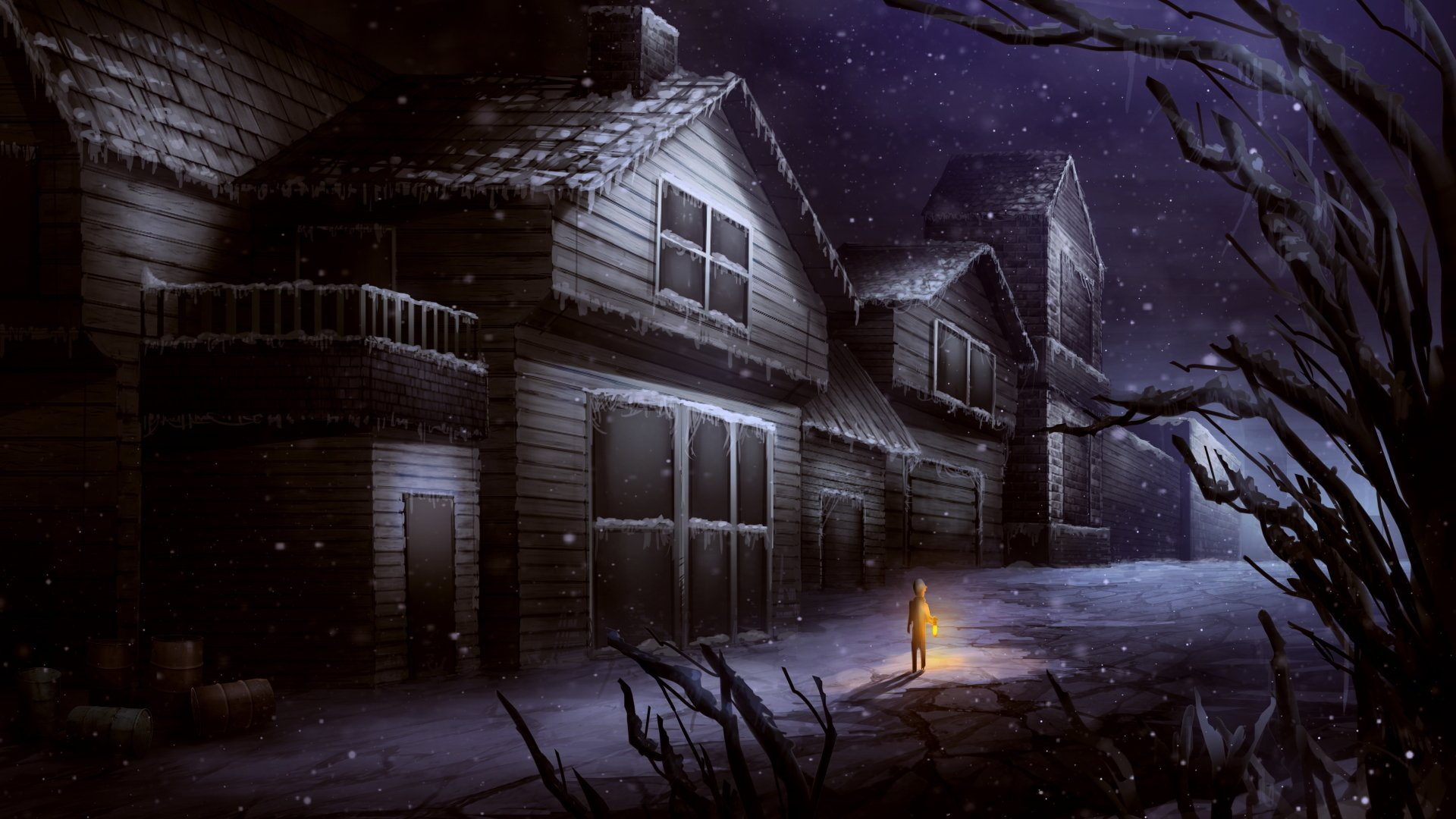 Little Boy Alone on Winter Night 4k Ultra HD Wallpaper and ...