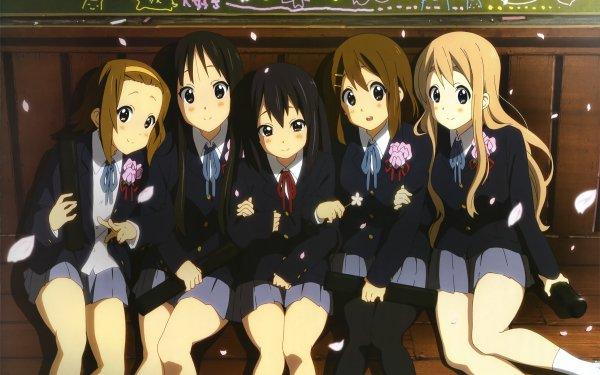 Anime K-ON! Mio Akiyama Yui Hirasawa Ritsu Tainaka Tsumugi Kotobuki Azusa Nakano Brown Hair Brown Eyes Short Hair School Uniform Skirt Pantyhose Fondo de pantalla HD | Fondo de Escritorio