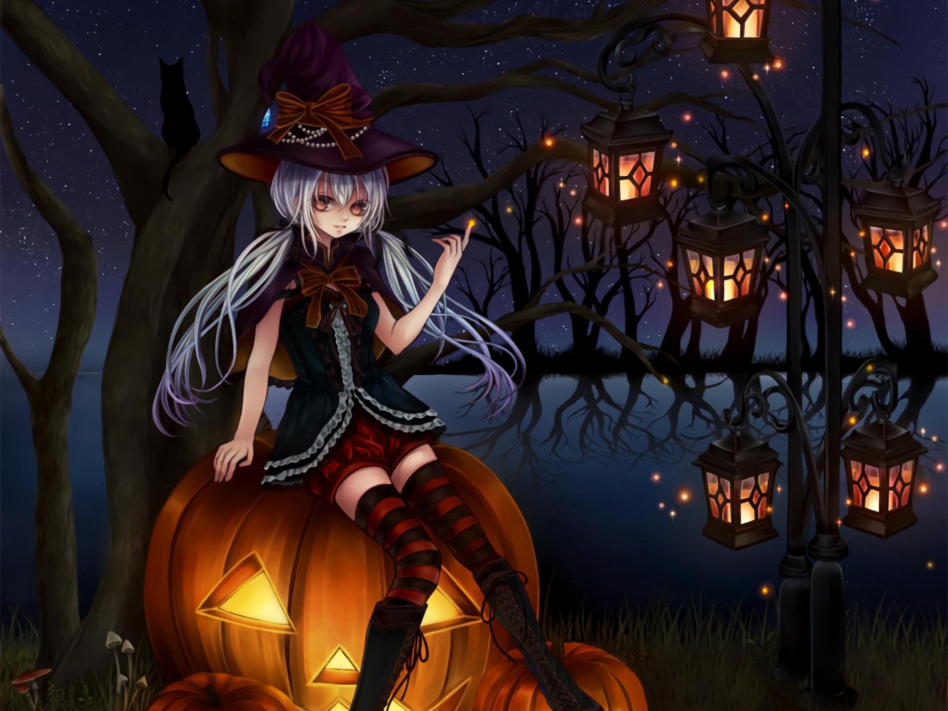 Holiday - Halloween  Holiday Anime Girl Jack-o'-lantern Night Lantern White Hair Witch Hat Wallpaper