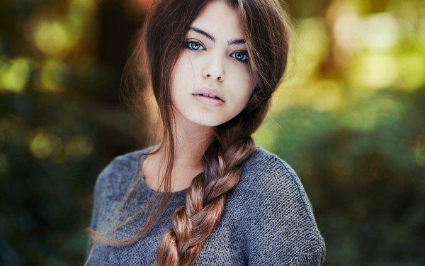 Women Model Models Brunette Braid Bokeh HD Wallpaper | Background Image