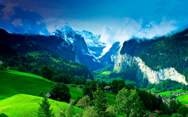 Photography Landscape Earth Mountain Valley Forest Greenery HD Wallpaper   Background Image