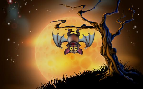 Día festivo Halloween Bat Árbol Fondo de pantalla HD   Fondo de Escritorio