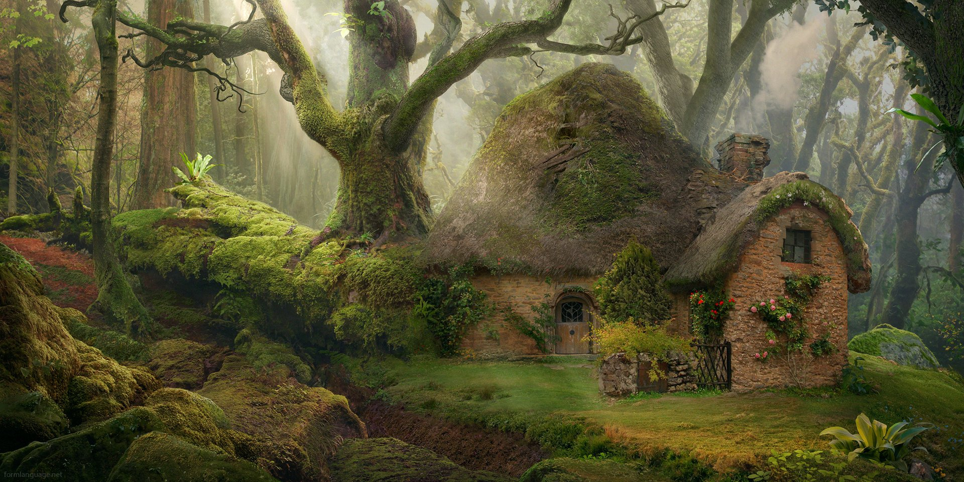 Fantasy - Forest  House Cottage Tree Green Wallpaper
