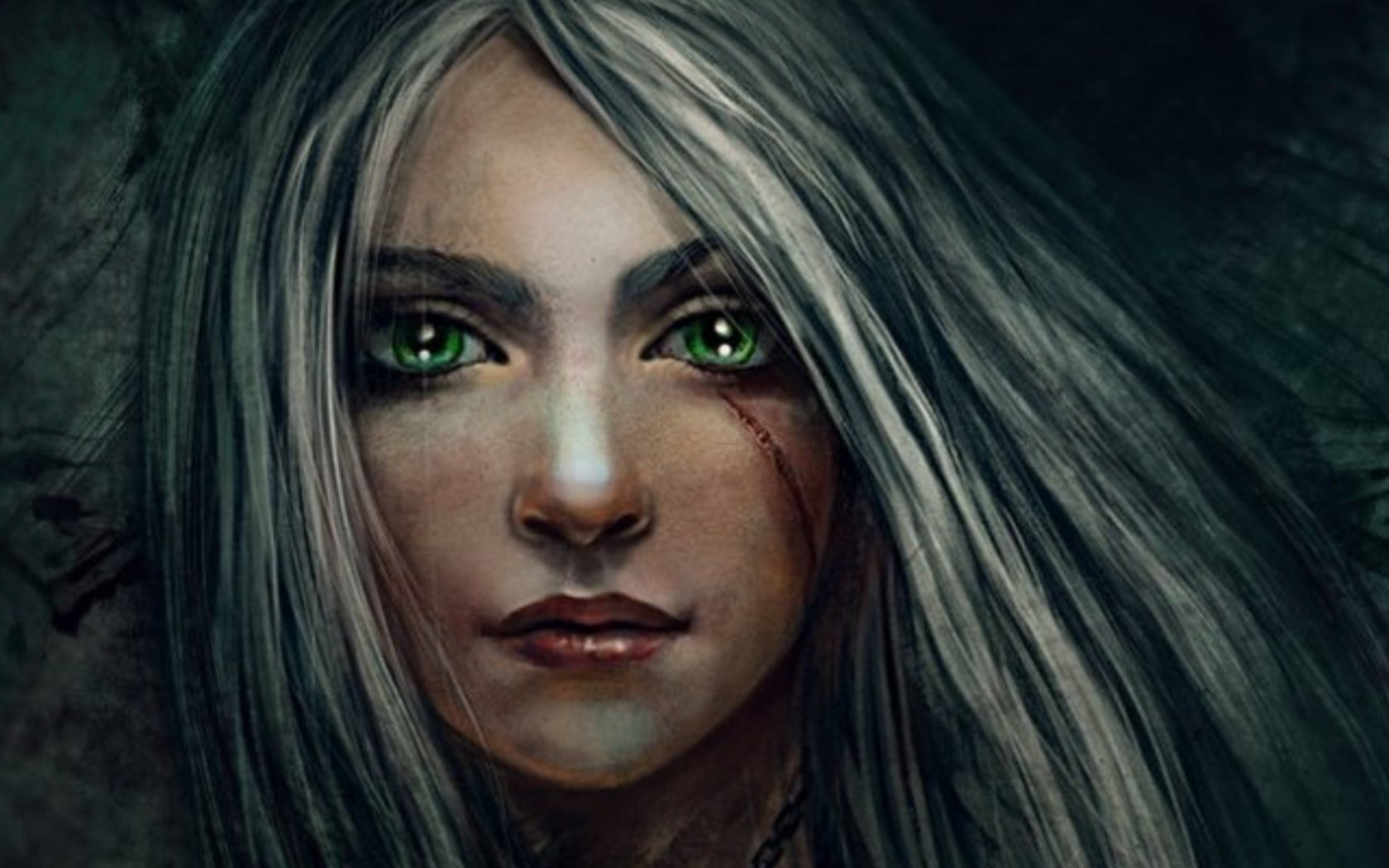 Fantasy - Women  Fantasy Woman Girl Green Eyes Scar Wallpaper