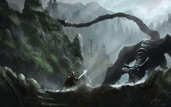 Fantasy Dragon Warrior Fight Skyrim HD Wallpaper | Background Image