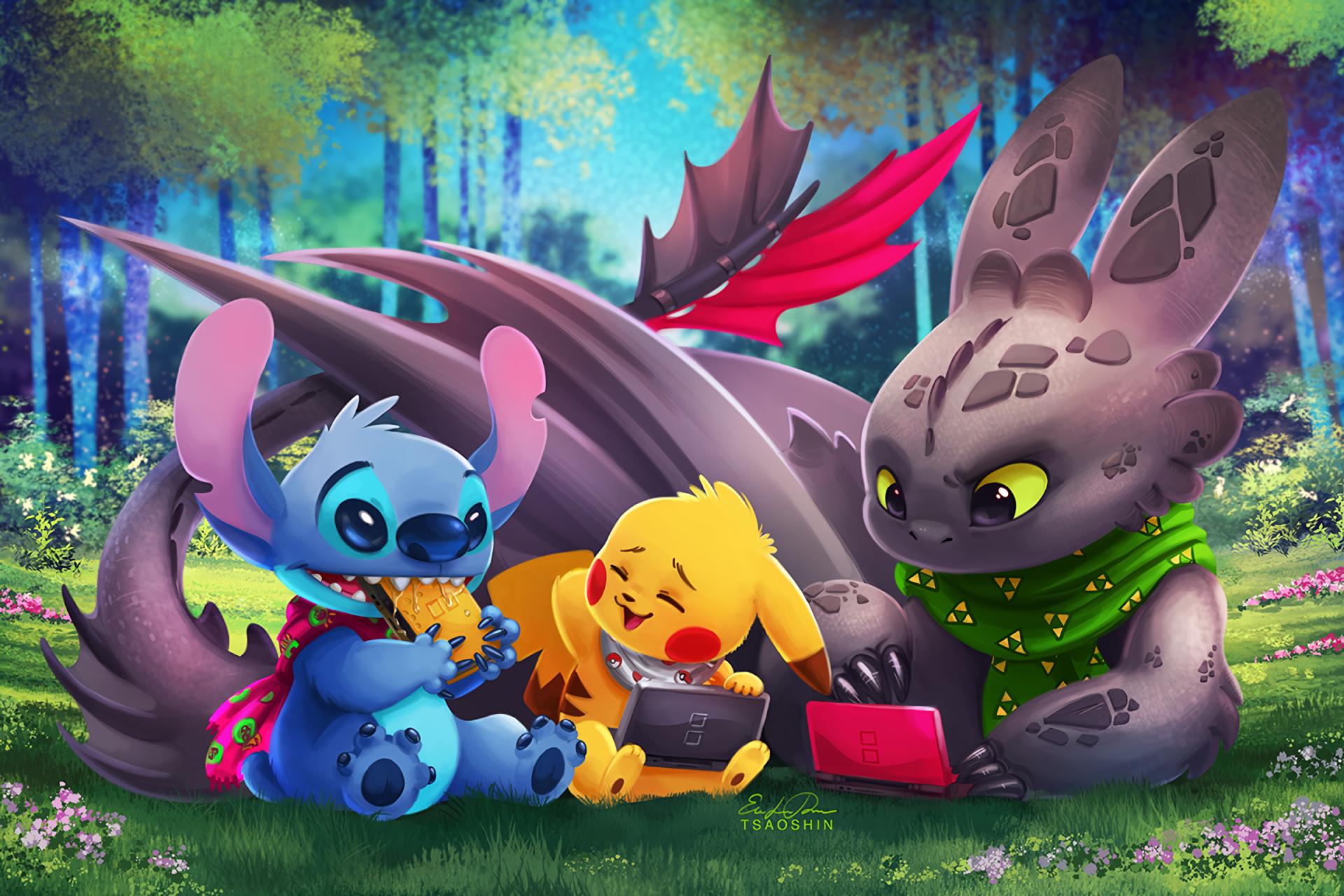 Movie - Crossover  How to Train Your Dragon Pokémon Lilo & Stitch Toothless (How to Train Your Dragon) Pikachu Stitch (Lilo & Stitch) Wallpaper