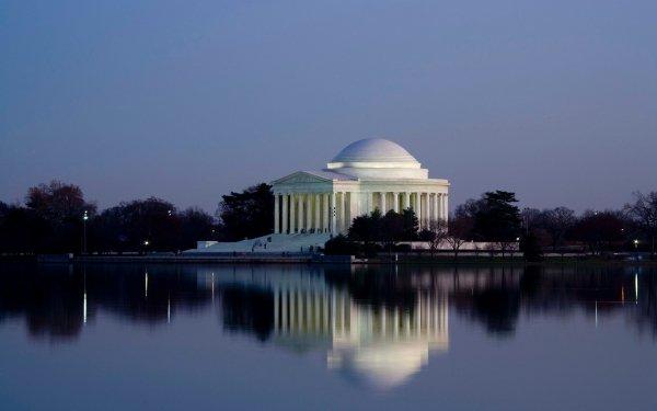 Man Made Thomas Jefferson Memorial Memorial Building USA Lake Reflection Architecture Dome Historic Evening Twilight Washington HD Wallpaper | Background Image