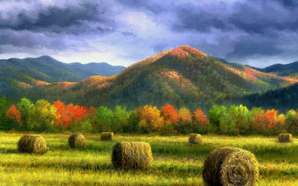 Artistic Painting Fall Foliage Haystack Forest Mountain HD Wallpaper   Background Image