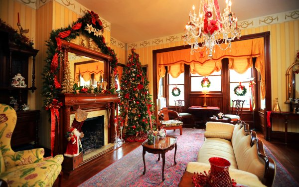 Holiday Christmas Christmas Tree Wreath Room Furniture HD Wallpaper | Background Image