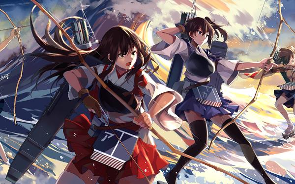 Anime Kantai Collection Akagi Kaga Souryuu Hiryuu HD Wallpaper | Background Image