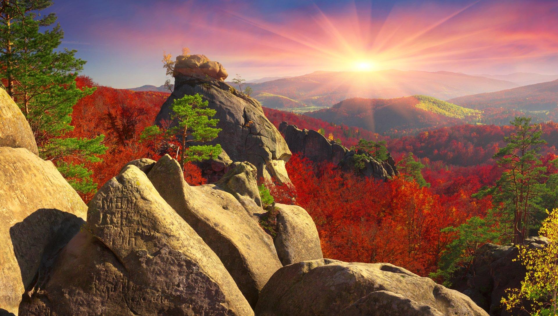Earth - Mountain  Earth Landscape Rock Forest Tree Fall Foliage Sunset Sun Wallpaper