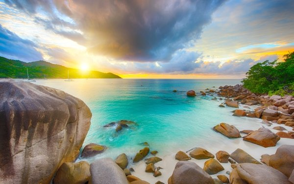 Tierra/Naturaleza Playa Océano Sea Rock Seychelles Nube Sol Horizon Fondo de pantalla HD | Fondo de Escritorio