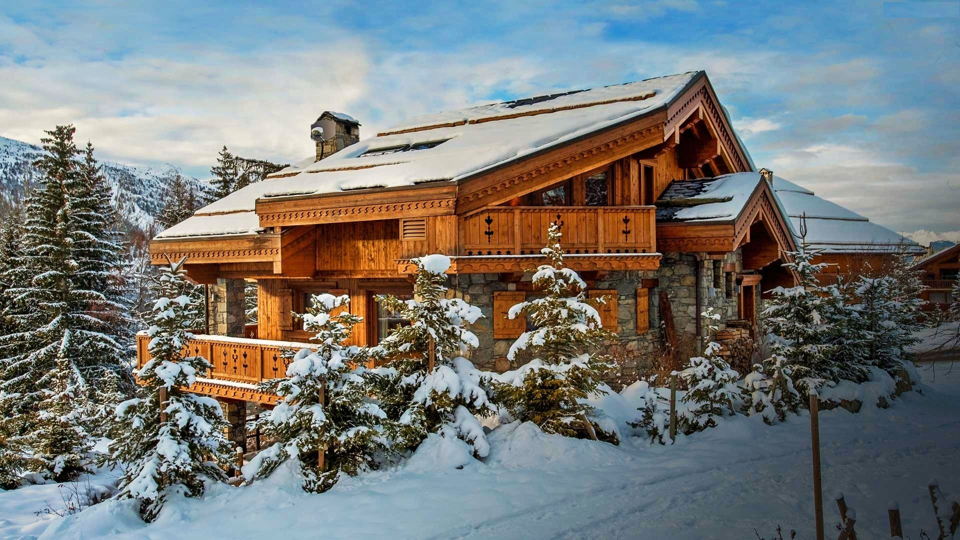 Ski Lodge In Winter Hd Wallpaper Background Image