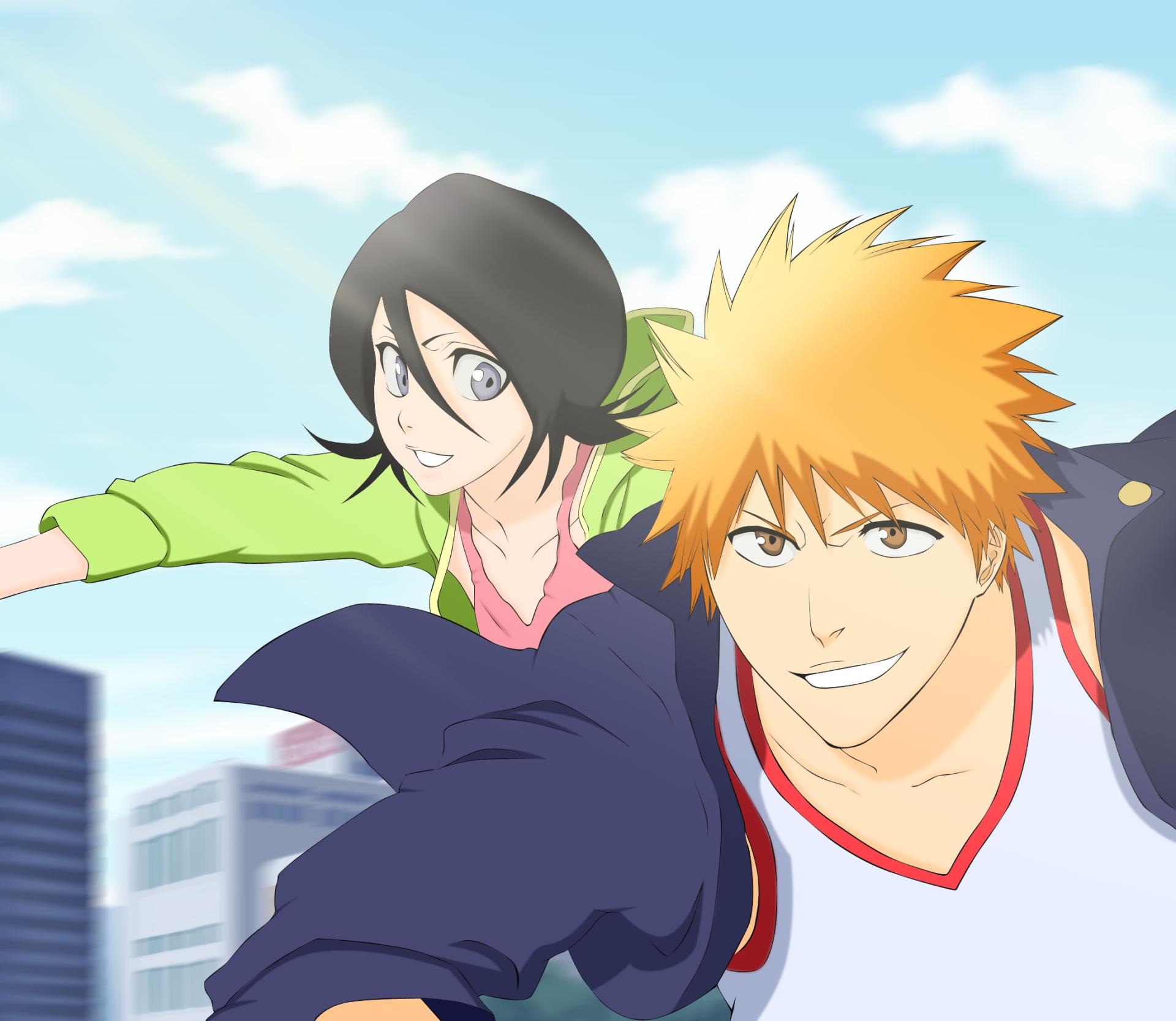 Anime - Bleach  Rukia Kuchiki Ichigo Kurosaki Bakgrund